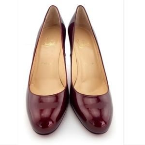 New CHRISTIAN LOUBOUTIN Ruby Red Patent Pumps 37